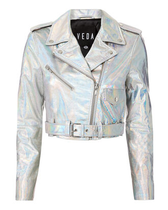 Acid Mirror Cropped Moto Jacket, SILVER, hi-res
