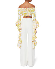 High Noon Ruched Crop Top, WHITE, hi-res