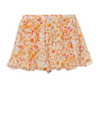 Pleated Printed Shorts, GOLD, hi-res