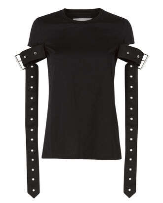 Belt Sleeve Black T-Shirt, BLACK, hi-res