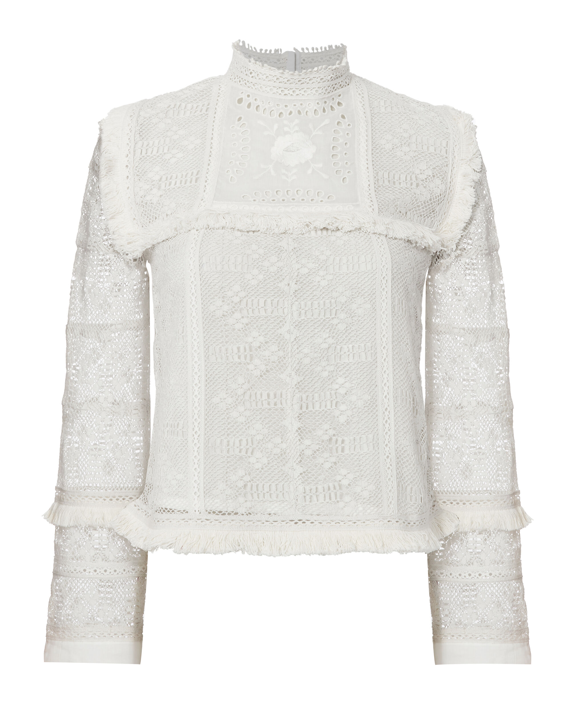 Giovanna Mock Neck Lace Top, IVORY, hi-res