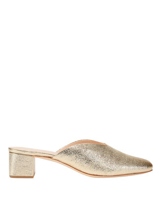 Lulu Crinkle Metallic Gold Leather Mules, METALLIC, hi-res