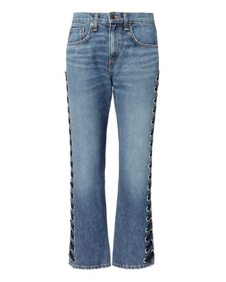 Ines Lace-Up Jeans, DENIM, hi-res