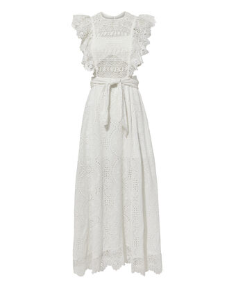 Eyelet Apron Dress, WHITE, hi-res