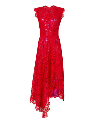 Georgie Bi-Color Lace Dress, RED, hi-res