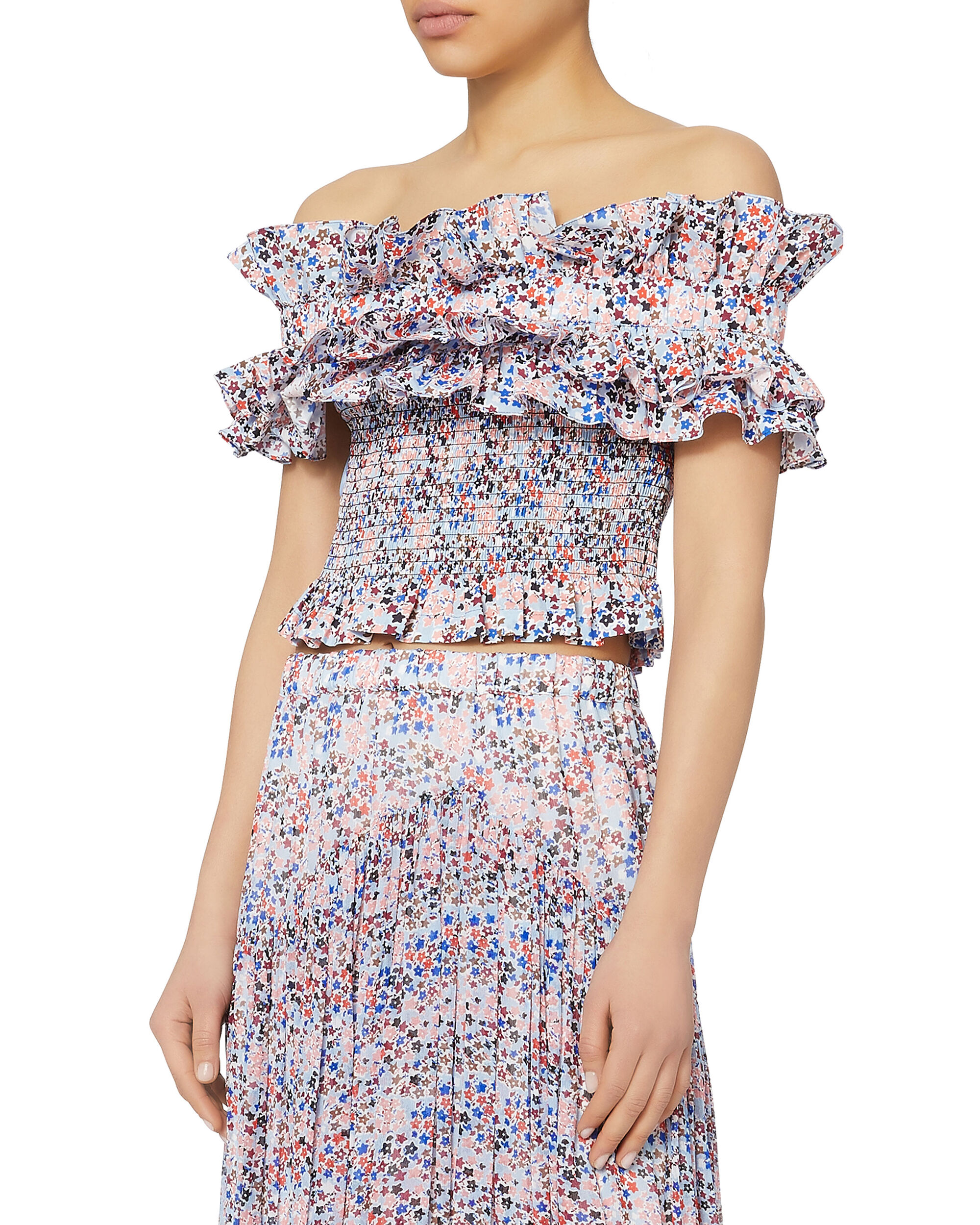 Gathered Off The Shoulder Crop Top, PRINT, hi-res