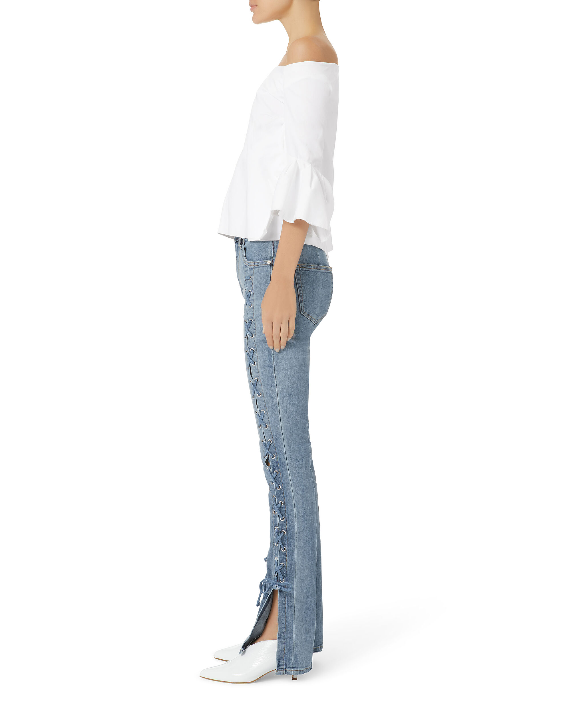Lace-Up Stovepipe Blue Jeans, BLUE, hi-res
