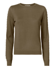 Pearl Button Detail Sweater, GREEN, hi-res