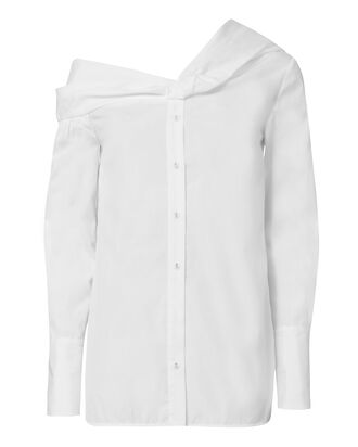 Asymmetric One Shoulder Shirt, WHITE, hi-res