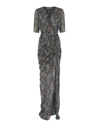 Domingo Printed Ruched Gown, PRINT, hi-res