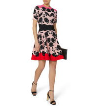 Rose Fit-and-Flare Knit Dress, PRINT, hi-res