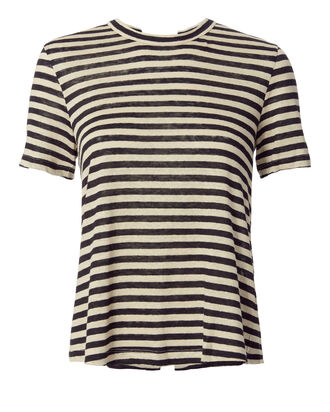 Alber Lace-Up Back Striped Tee, PATTERN, hi-res