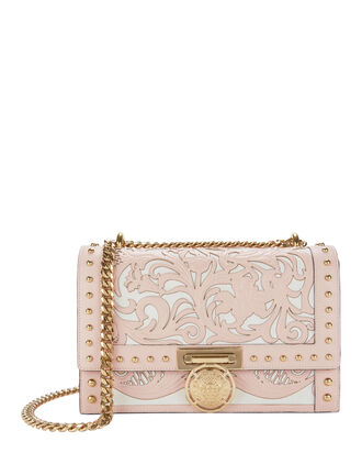 Western-Studded Flap Shoulder Bag, PINK, hi-res