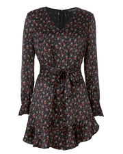 Serena Mock Neck Ruffle Shift Dress, PRINT, hi-res