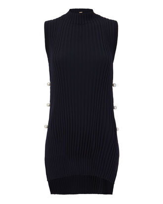 Pearl Side Sleeveless Ribbed Sweater, NAVY, hi-res