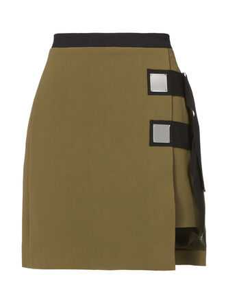 Double Strap Army Mini Skirt, GREEN, hi-res