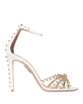 Bon Bon Studded Leather Sandals, WHITE, hi-res