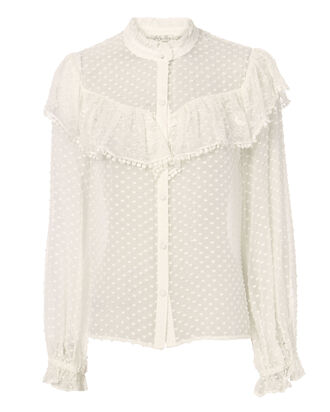 Erica Swiss Dot Blouse, WHITE, hi-res
