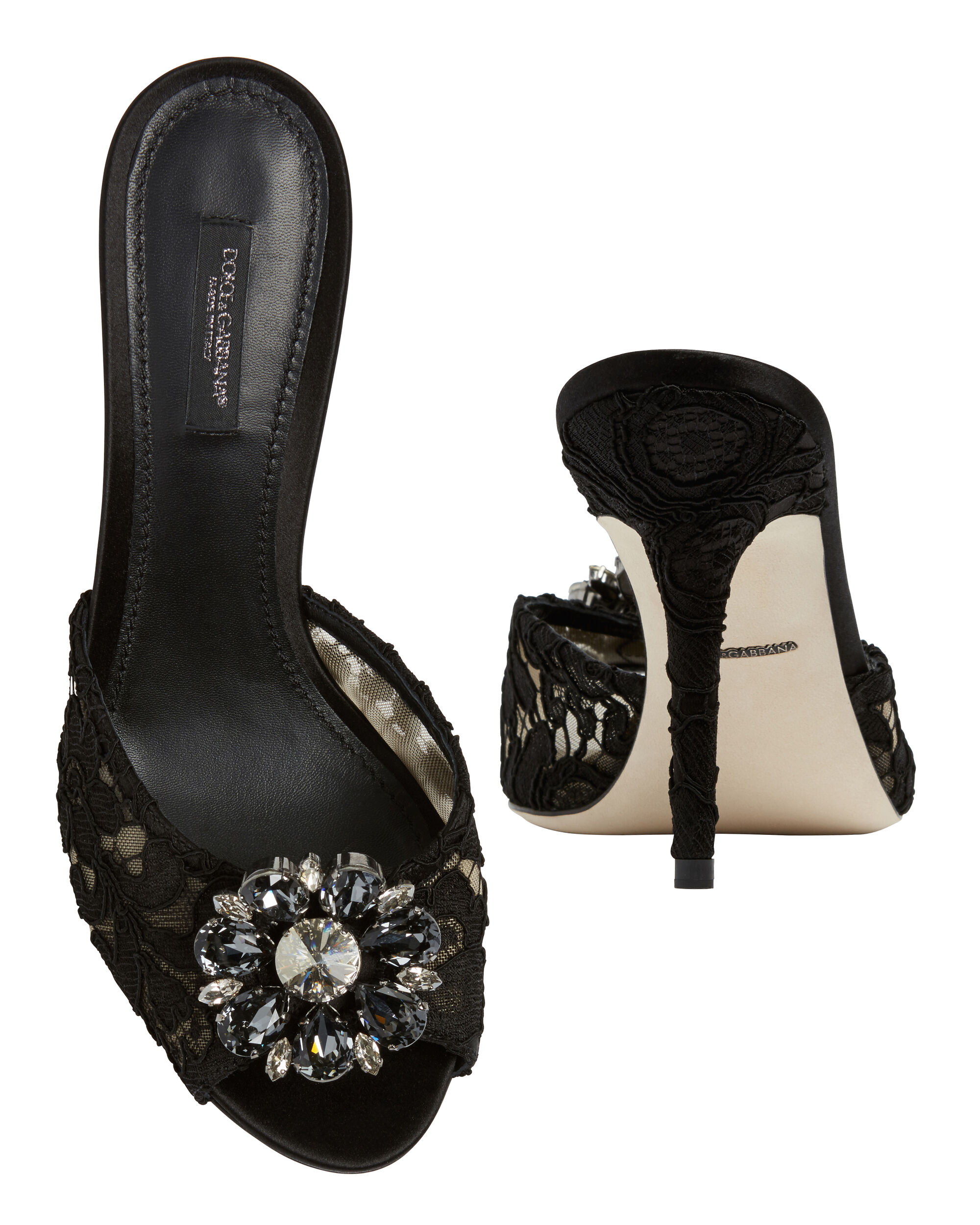 Jeweled Black Lace High Heel Mules, BLACK, hi-res