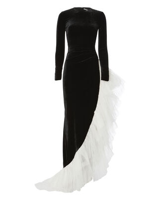 Velvet And Tulle Gown, BLACK, hi-res