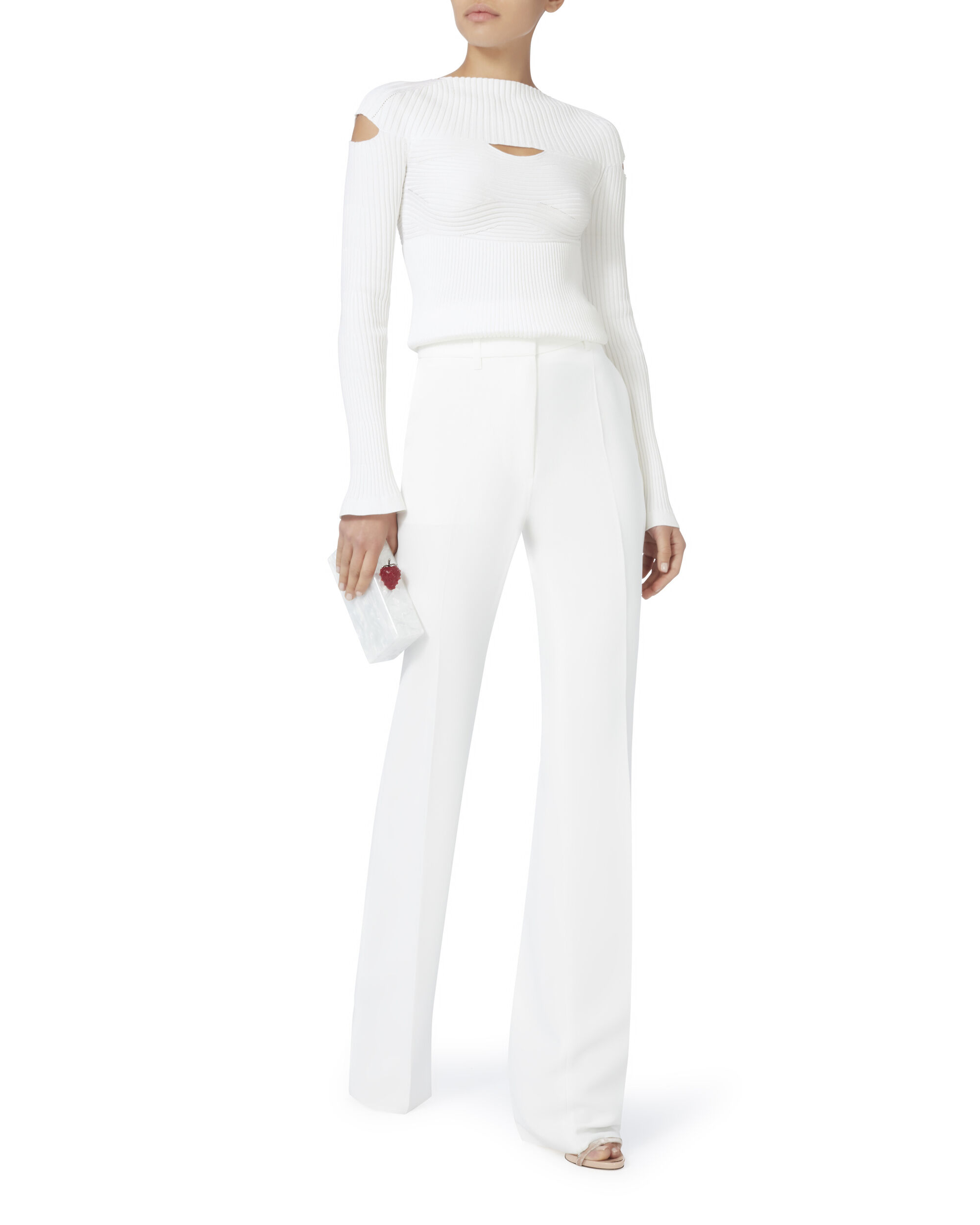 Cutout Boatneck Top, WHITE, hi-res