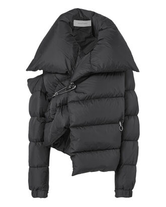Asymmetric Puffer Jacket, BLACK, hi-res