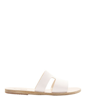 Apteros Cutout Leather Slide Sandals, WHITE, hi-res