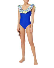 Electric Blue Ruffle One Piece Swimsuit, BLUE-MED, hi-res