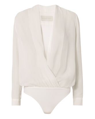 Cross Front Bodysuit Blouse, WHITE, hi-res