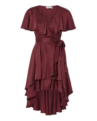 Flounce Wrap Dress, RED, hi-res
