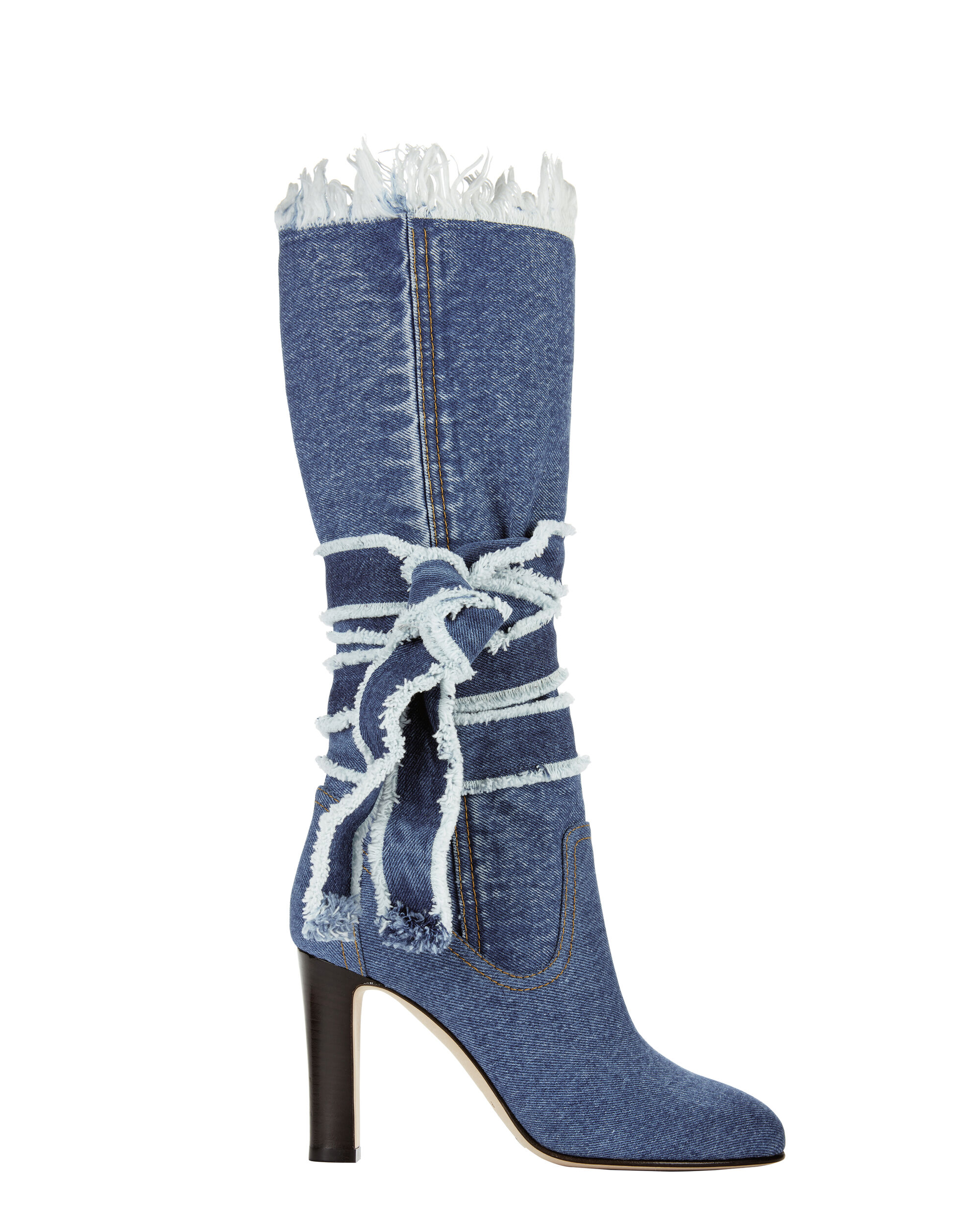 Denim Wrap Tie High Heel Boots, BLUE, hi-res