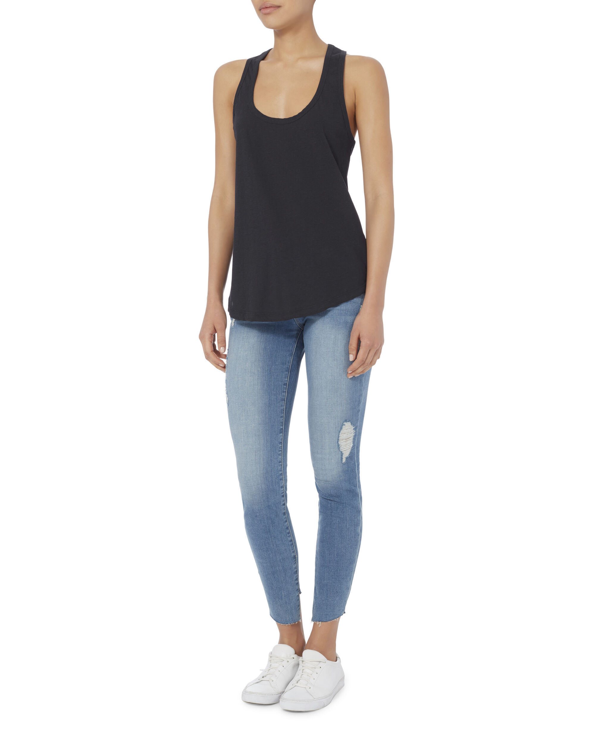 Asher Racerback Midnight Tank, NAVY, hi-res