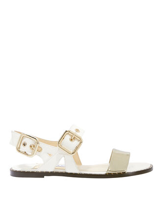 Astrid Buckle Sandals, WHITE, hi-res