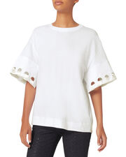 Lace Sleeve Tee, WHITE, hi-res