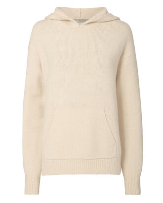 Bouclé Pullover Hoodie, IVORY, hi-res