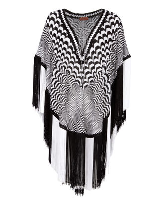Black And White Fringed Kaftan, BLK/WHT, hi-res