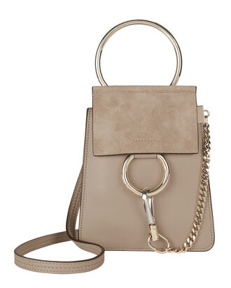 Faye Small Leather Bracelet Bag, GREY, hi-res