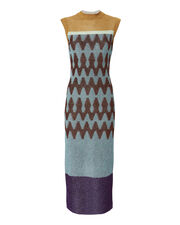 Jacquard Lame Knit Midi Dress, MULTI, hi-res
