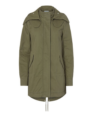 Detachable Hood Green Parka, GREEN, hi-res