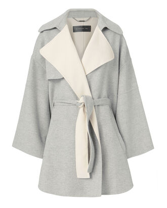 Belted Poncho, GREY, hi-res