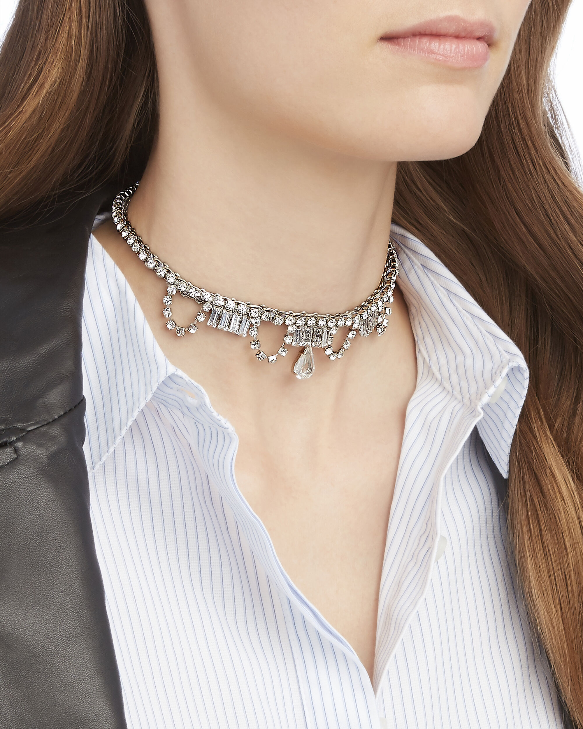 Crystal Choker Necklace, METALLIC, hi-res