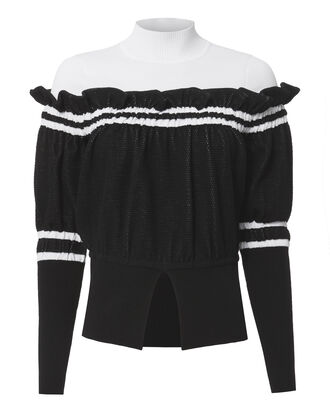 Ruffle Detail Turtleneck Sweater, BLK/WHT, hi-res