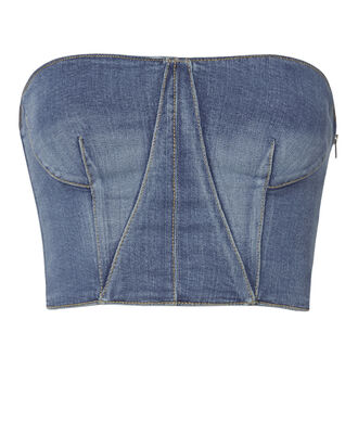 Denim Bustier Top, BLUE, hi-res