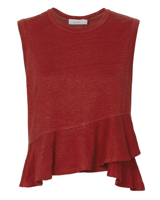 Braxton Ruffle Front Tank, RED-DRK, hi-res