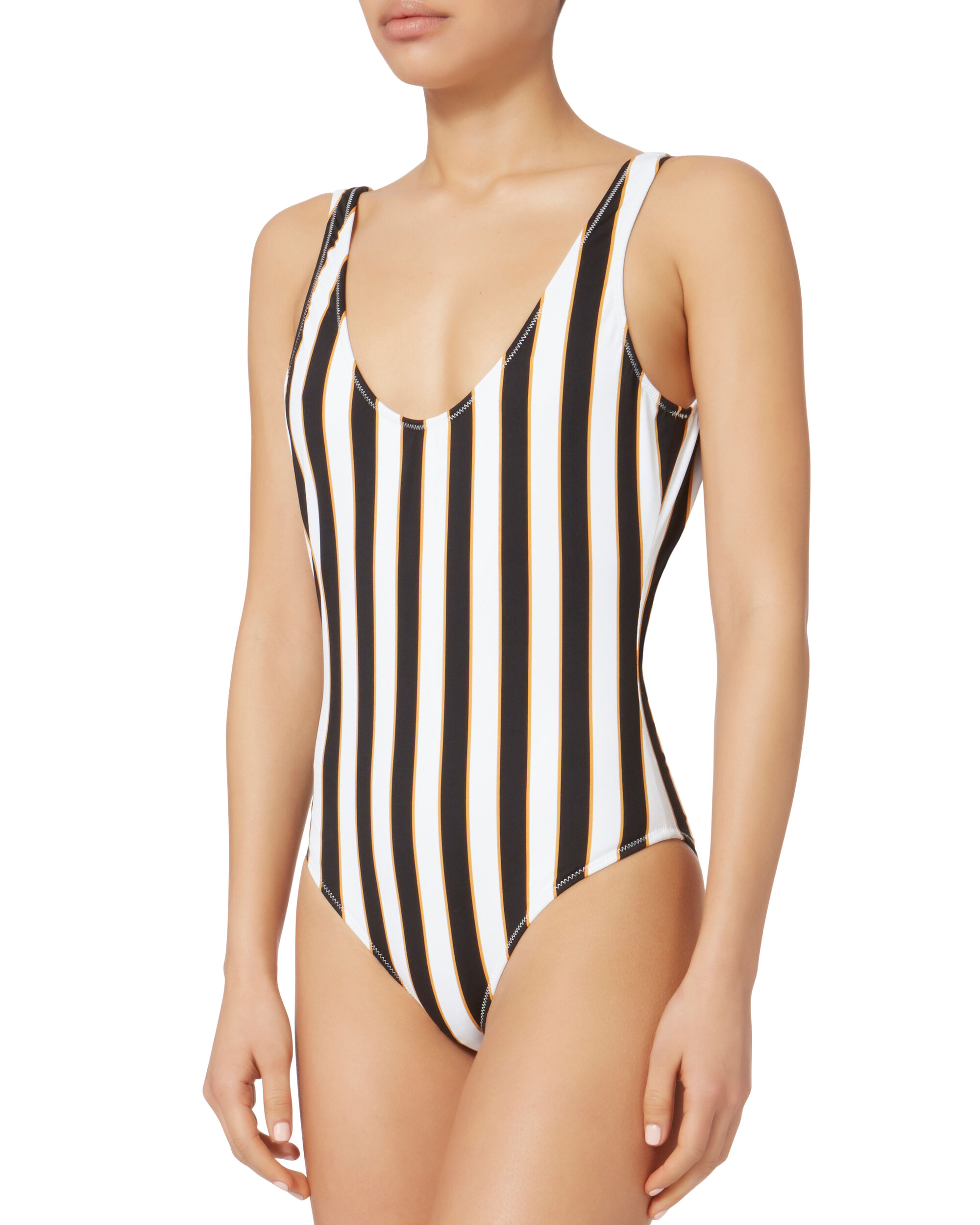 Aristi Scoop Back Striped One Piece Swimsuit, PATTERN, hi-res
