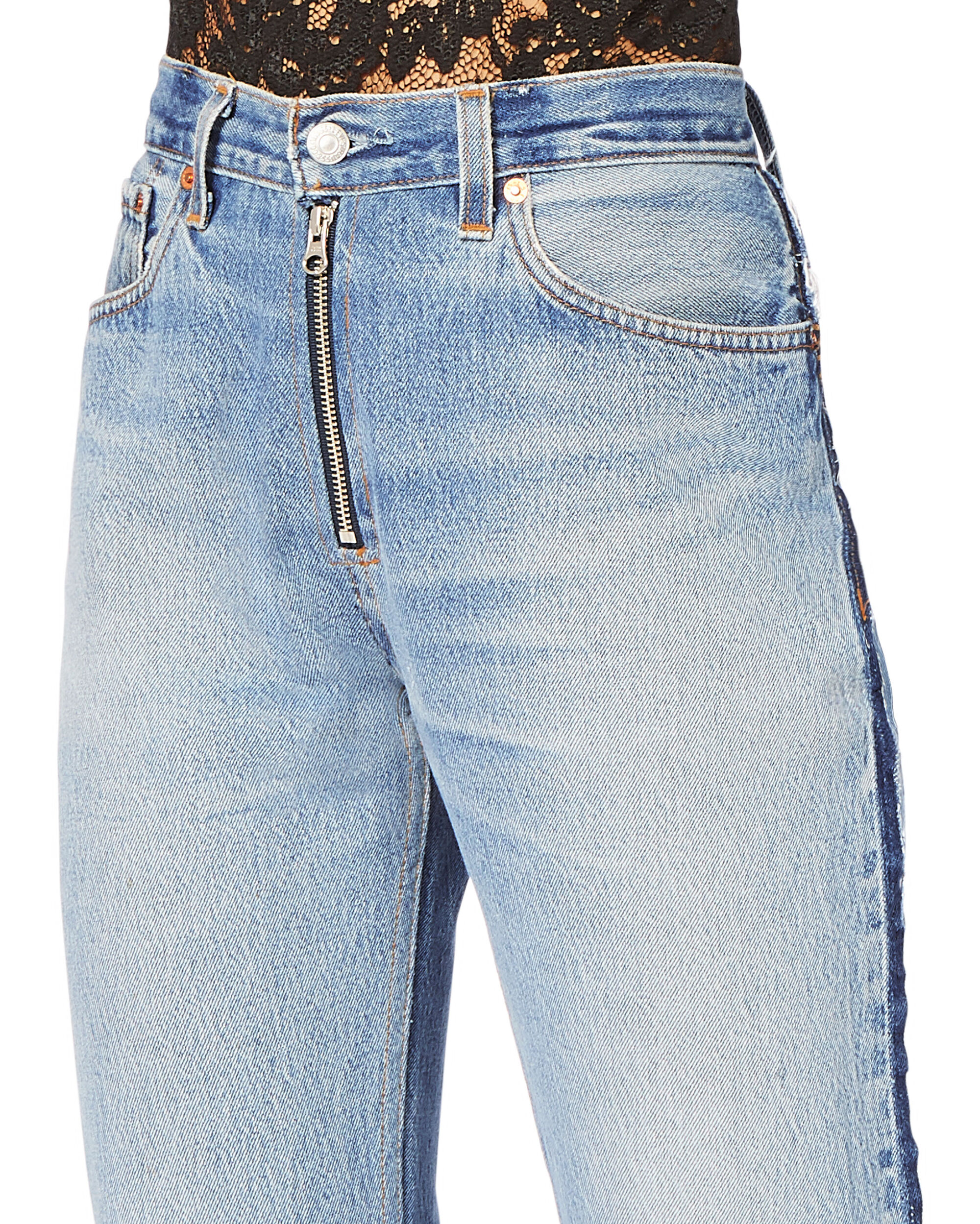 High-Rise Zip Detail Relaxed Jeans, DENIM, hi-res