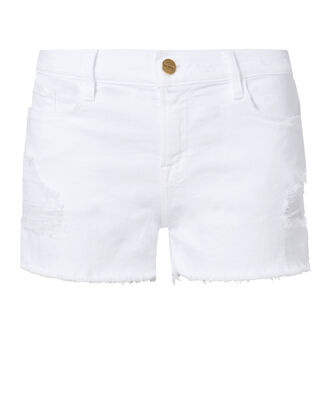 Le Cut Off White Shorts, WHITE, hi-res