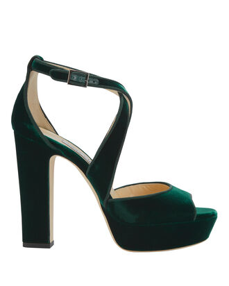 April Green Velvet Platform Sandals, GREEN, hi-res
