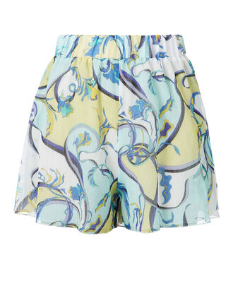 Printed Coverup Shorts, BLUE-LT, hi-res