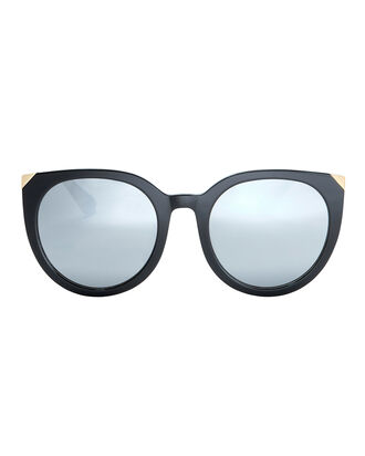 Metal Cap Cat Eye Sunglasses, BLACK, hi-res